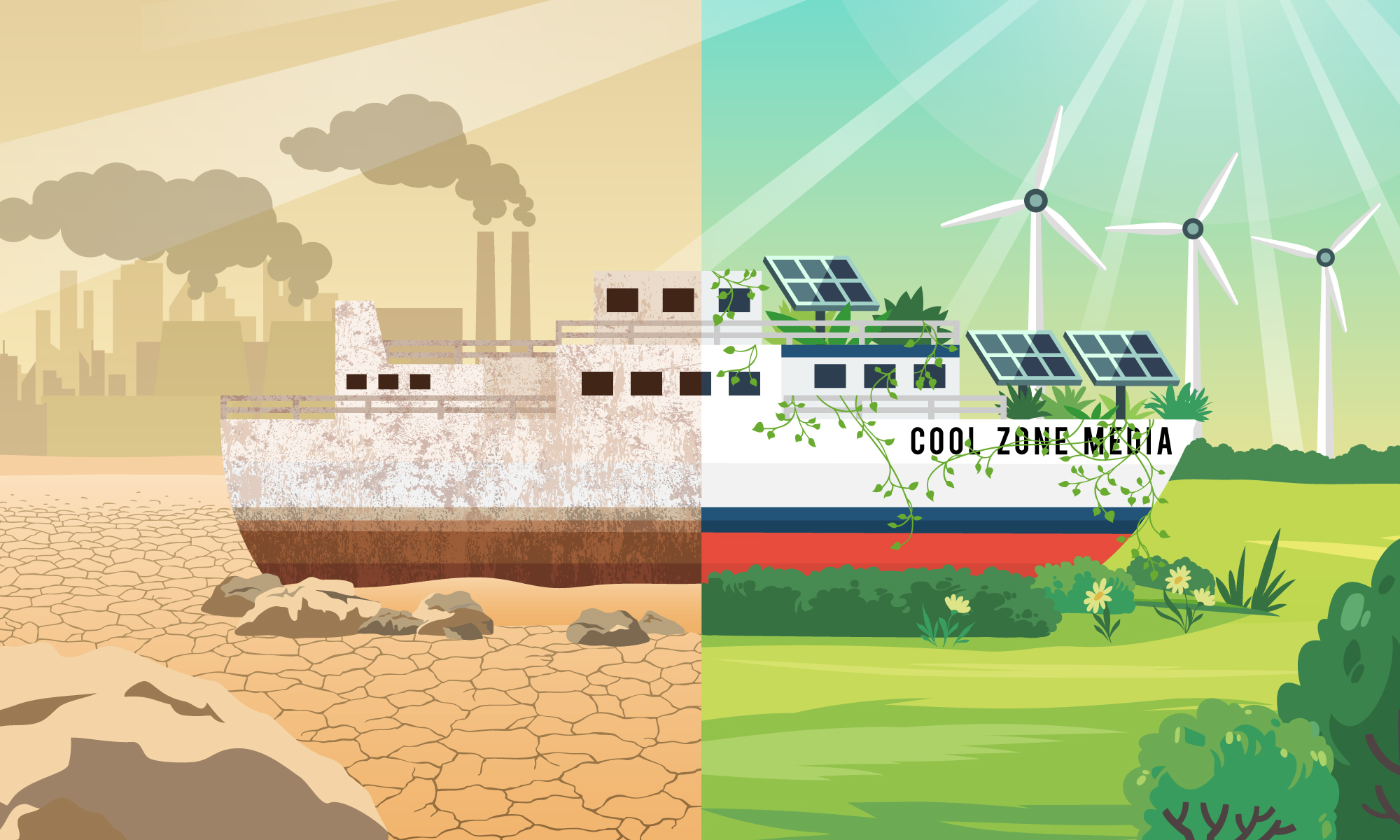 split image of a boat named cool zone media. On the left, in sepia tone is a rusted boat on a dry shore with refinery towers billowing smoke in the background. On the right, in bright colors is the other half of the boat: covered in ivy and solar panels, on a lush shore, with bushes in the foreground and wind turbines in the background.
